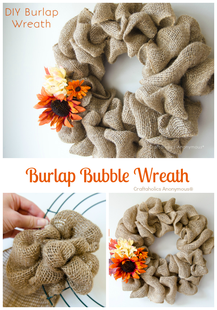 Burlap wreath how-to from Craftaholics Anonymous.