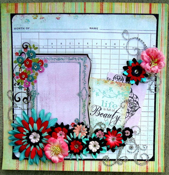 My girly scrapbook layout on Etsy