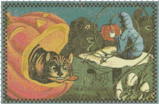 Cheshire Cat & Caterpillar Wonderland Pattern