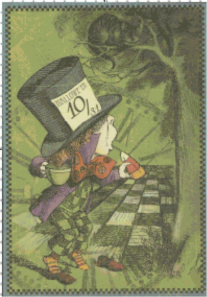 Retro Mad Hatter Halloween  Pattern
