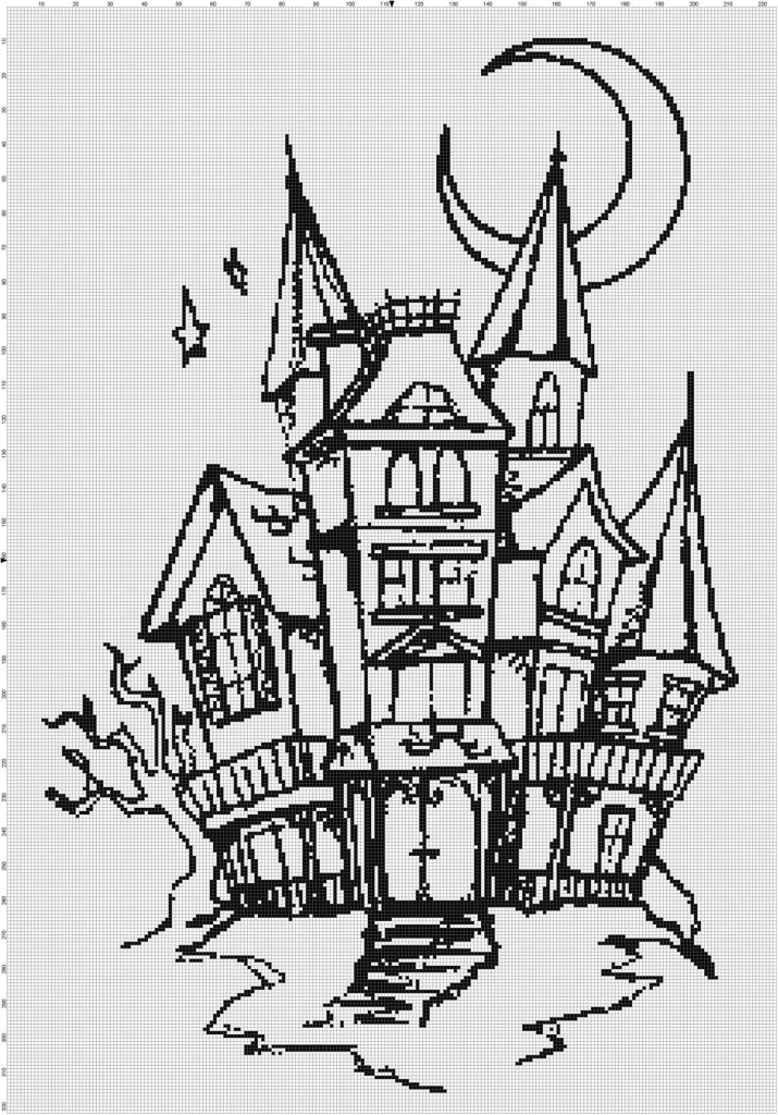 Haunted House Silhouette Pattern