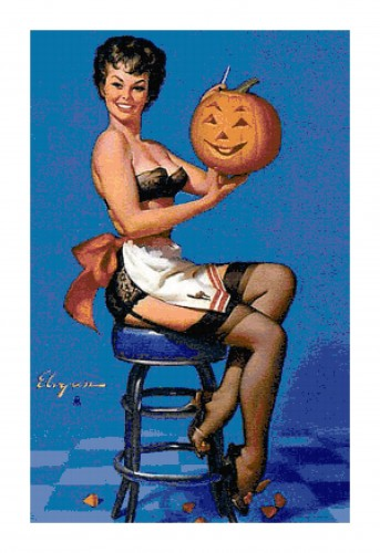 Pin-Up Carving Halloween Pumpkin Pattern