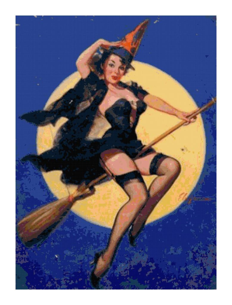 Pin-Up Witch on Broom Pattern