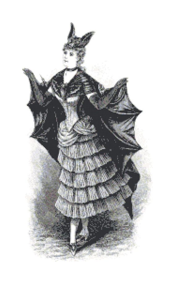 Vintage Woman in Bat Costume Pattern