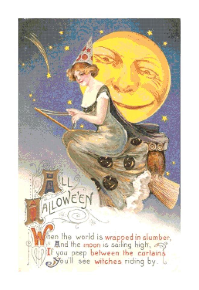 Retro Vintage Halloween  Witch on Broom Pattern