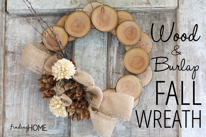 Wood and burlap wreath DIY from Finding Home.