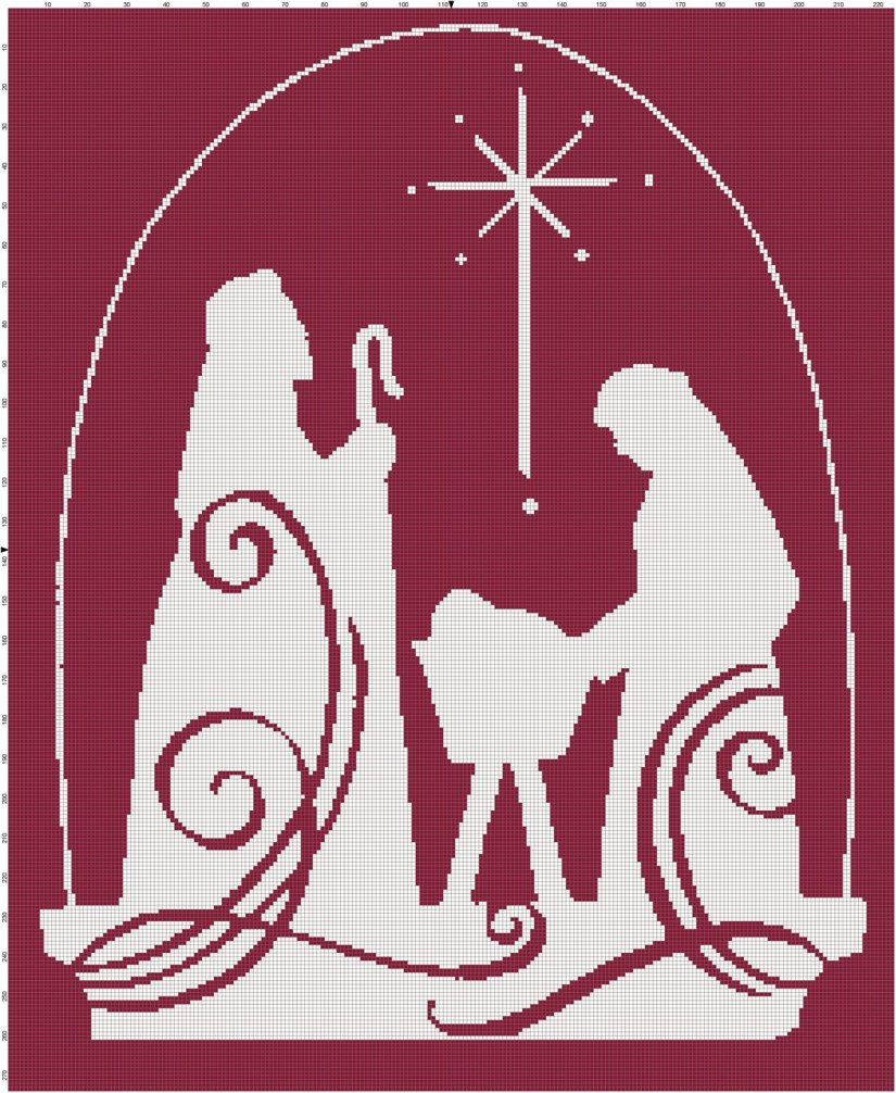 Nativity scene silhouette cross-stitch pattern