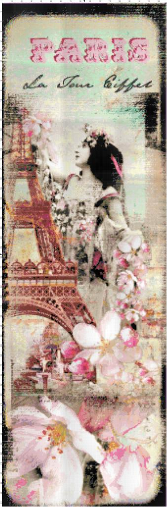 Paris cherry blossoms pattern