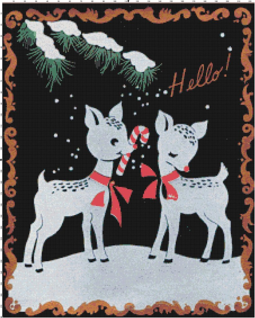 Retro reindeer with candy canes cross-stitch pattern