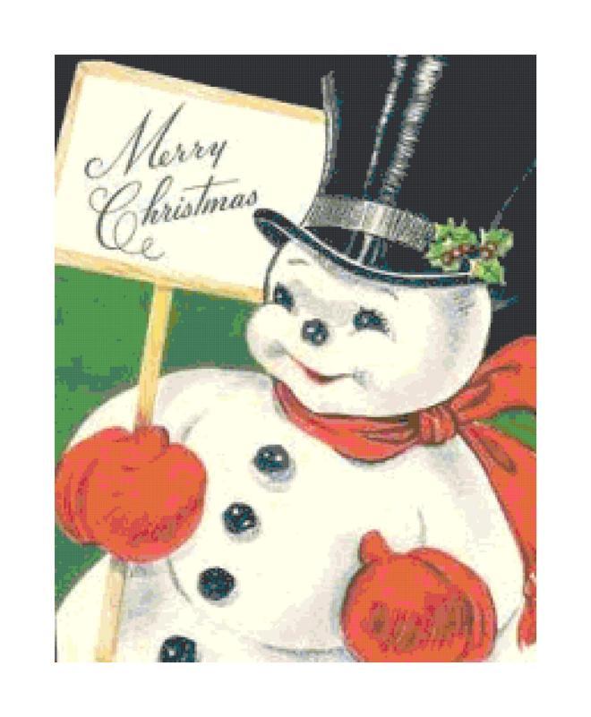 Retro Christmas snowman cross-stitch pattern