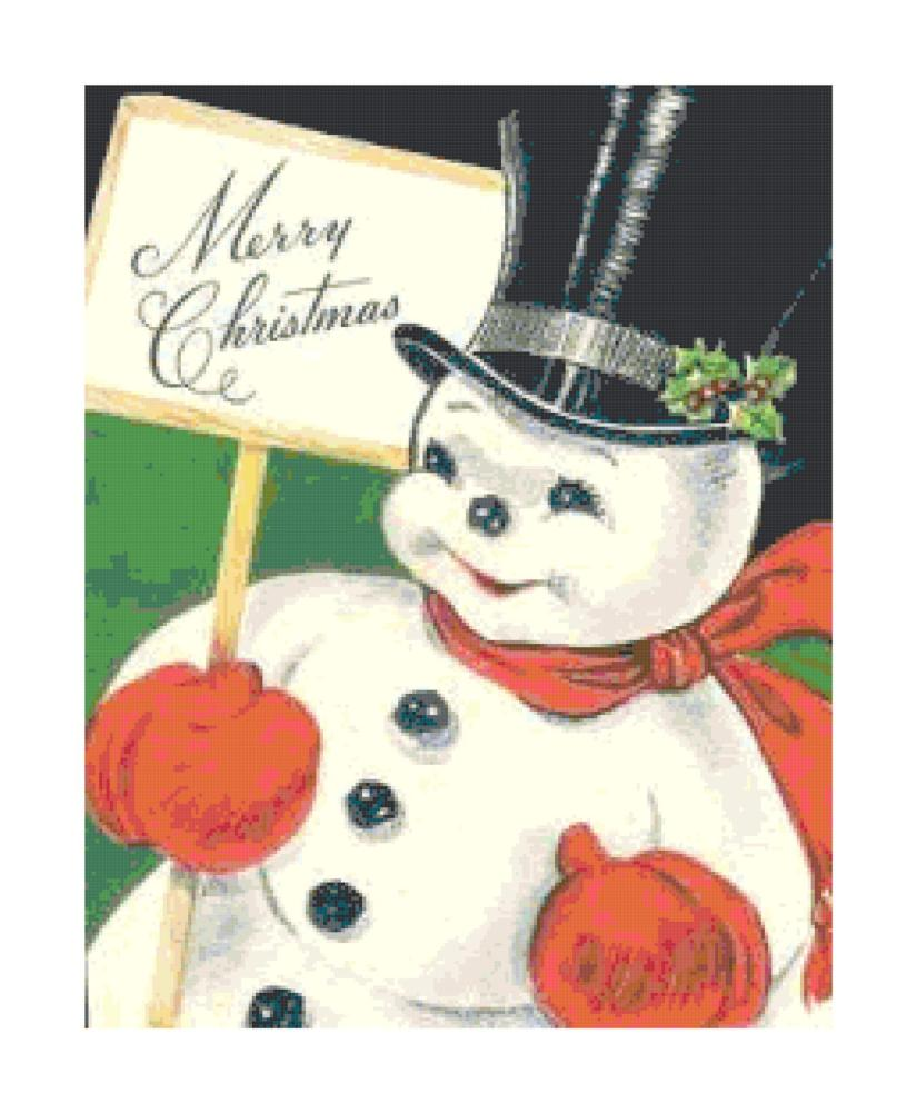 Retro Christmas snowman cross-stitch pattern