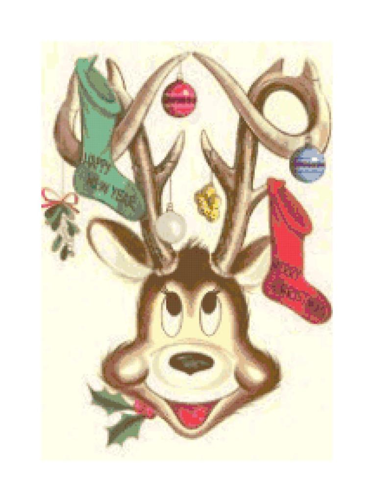 Retro Reindeer cross-stitch pattern