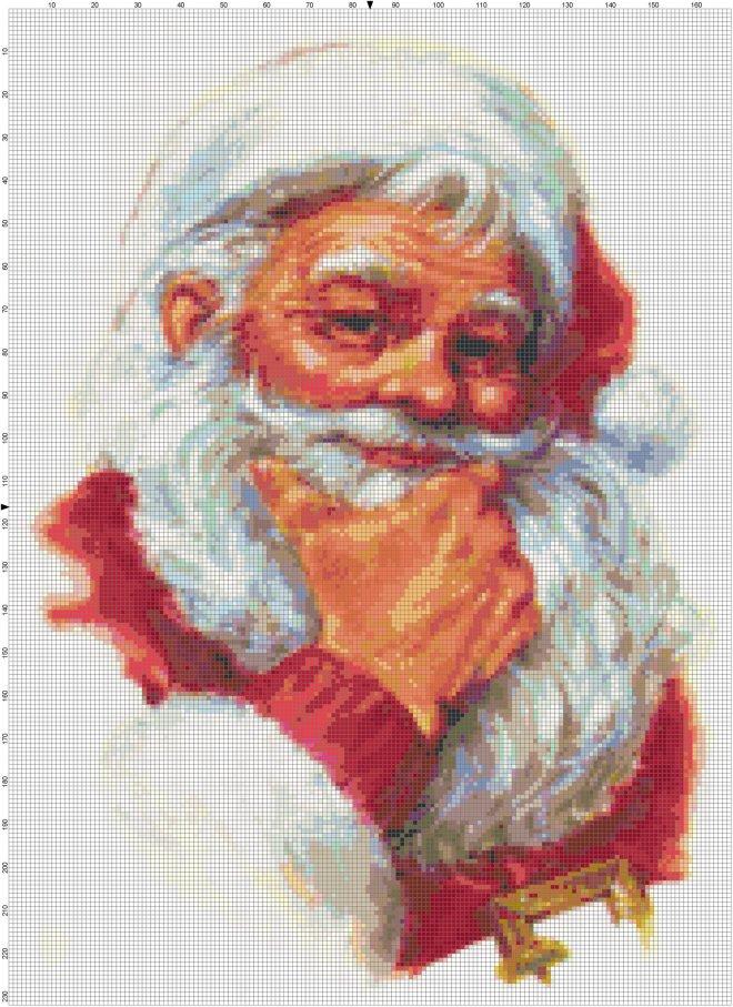 Thoughtful Santa cross-stitch pattern