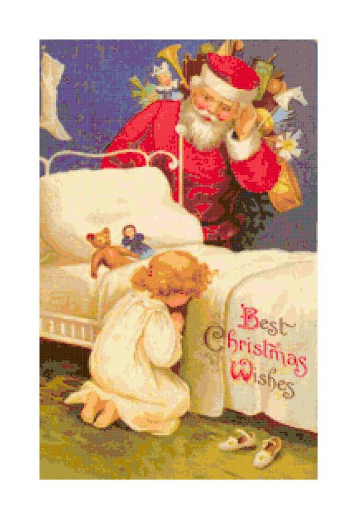 Vintage Santa and praying girl cross-stitch pattern