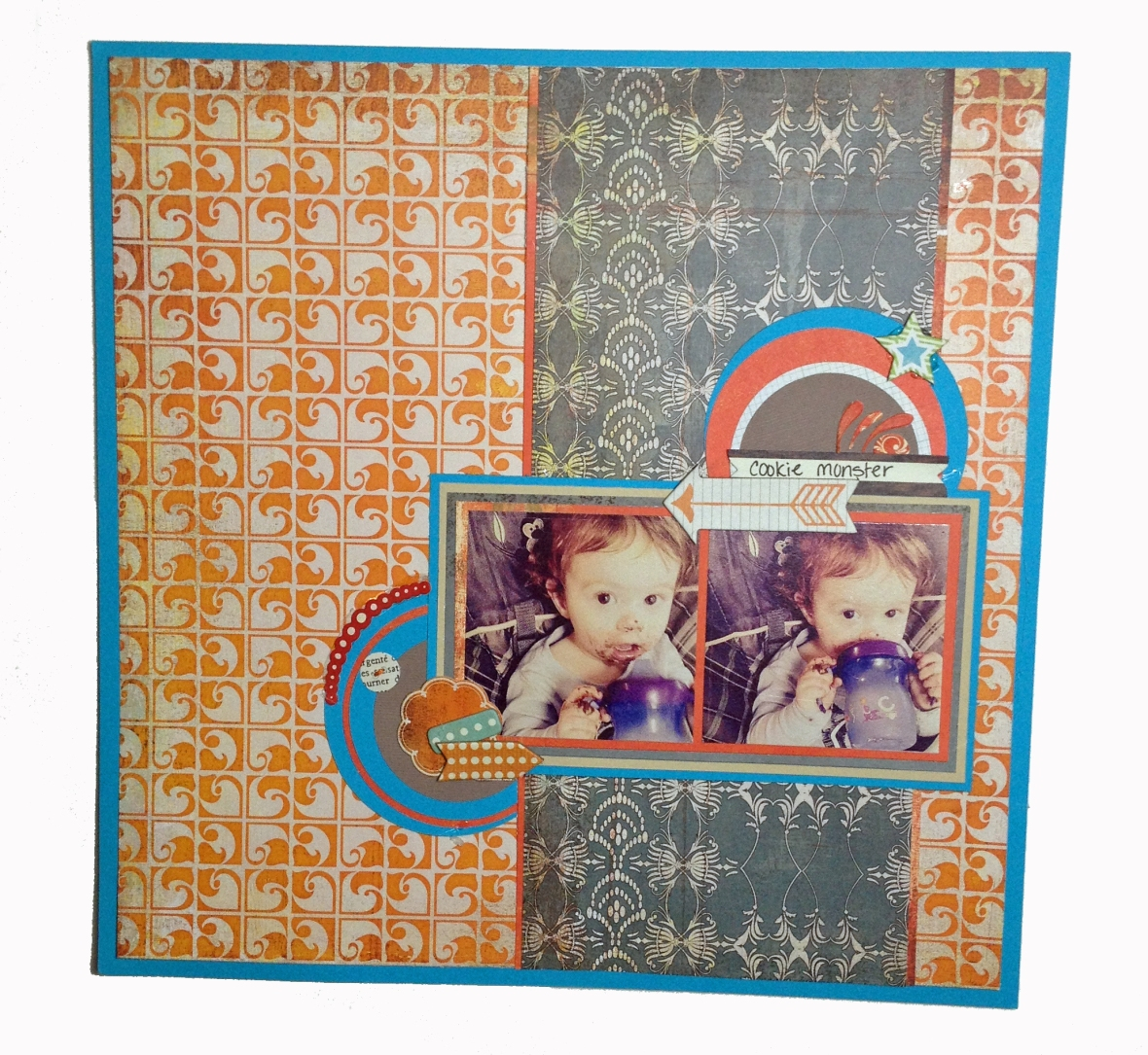 cookie monster scrapbook layout