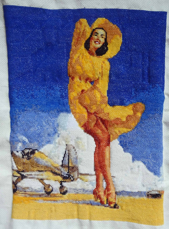 Pin-Up with Plane finished cross stitch