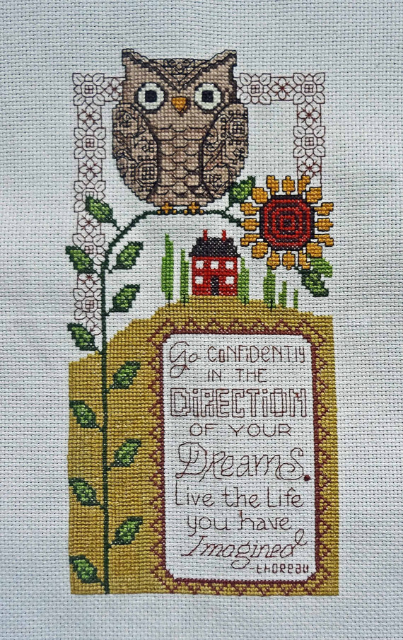 Owl and sunflower finished cross stitch