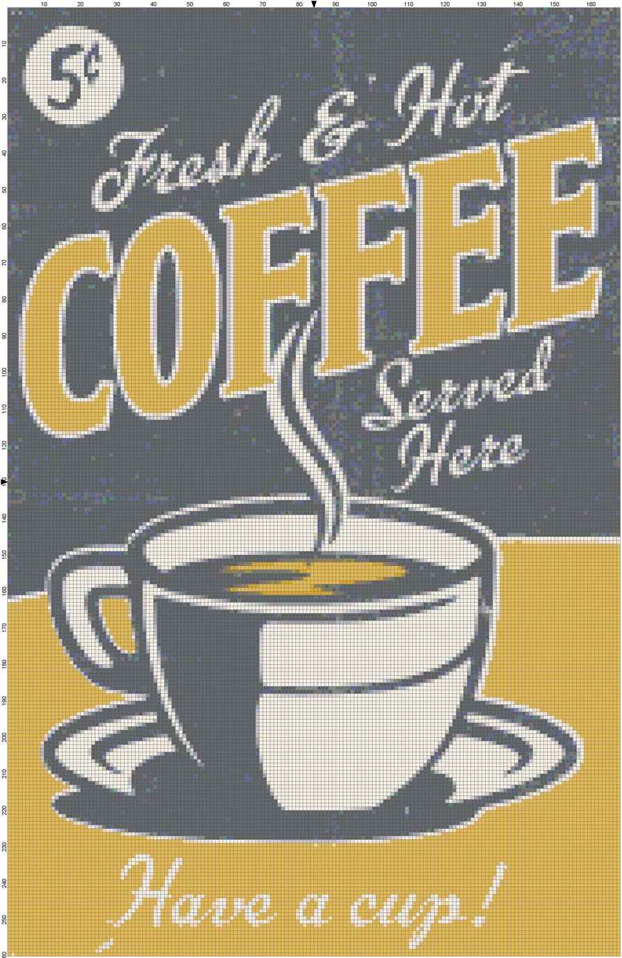 Fresh and Hot Coffee cross stitch pattern