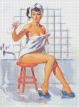 Pin-Up in Flooded Bathroom Pattern