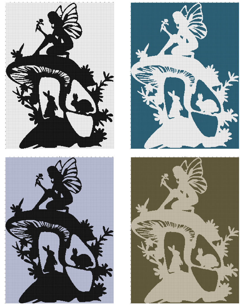 Fairy and Bunnies Silhouette collage